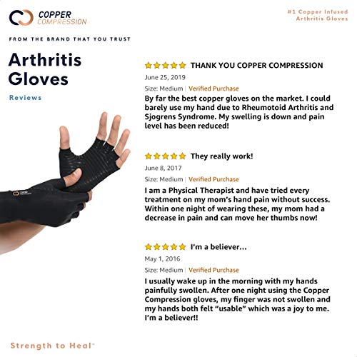 Copper Compression Arthritis Gloves - GUARANTEED Highest Copper Content. #1 Copper Infused Fit Glove For Carpal Tunnel, Computer Typing, And Everyday Support For Hands And Joints. 1 PAIR Of Gloves