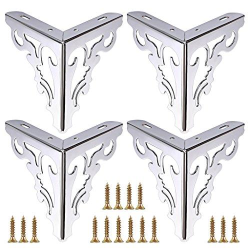 OwnMy 4pcs Metal Furniture Legs Feet, Modern Sofa Cabinet Legs for Repair & Restoration of Dresser, Wardrobe, Tea Table, Worktop Shelves Bed, Weight Capacity of 550 lbs Per Leg (Silver, 15cm/6inch)