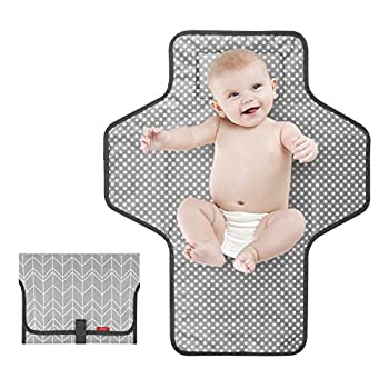 Portable Changing Pad for Baby Travel Baby Changing Pads for Moms Dads Waterproof Portable Changing Mat with Built-in Pillow Excellent Baby Shower/Registry Gifts