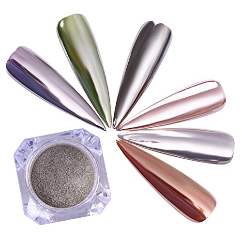 BORN PRETTY Nail Art Mirror Powder Silver Shimmering Pearl Pigment Pearl Chrome Glitter Dust for Manicure Makeup 1g