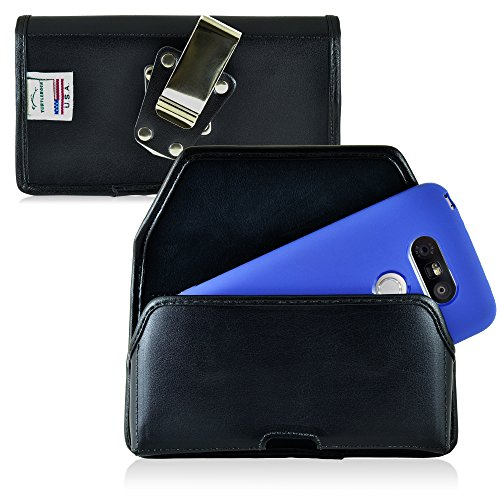 Turtleback Belt Case made for LG G5 Black Holster Leather Pouch with Heavy...