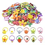 Cute Hair Ties For Girls, 50 Pcs Rubber Bands Soft Elastic Ponytail Holders Cartoon Accessories For Baby Girls Toddlers Kids Teens Children