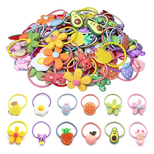 Baby Hair Ties For Girls, 50 Pcs Cartoon Hair Bands Soft Elastic Ponytail Holders Hair Accessories For Baby Girls Infants Toddlers Kids Teens Children