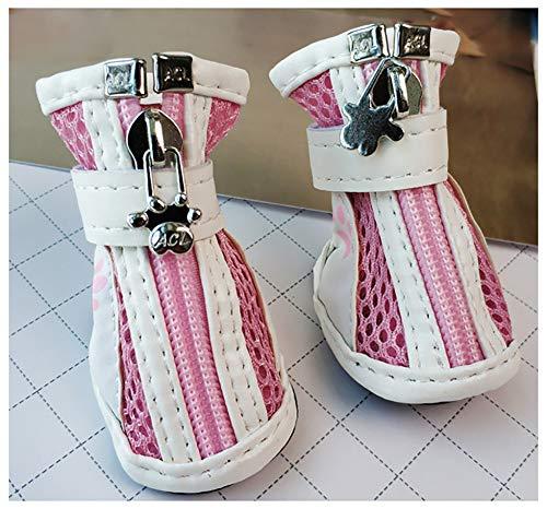WELBLQ Pet Net Schoenen Hond Schoenen Rits Sportschoenen Huisdier Sportschoenen Uit De Hond Schoenen In De Grote Hond Zachte En Comfortabele Huisdier benodigdheden, No.2, roze