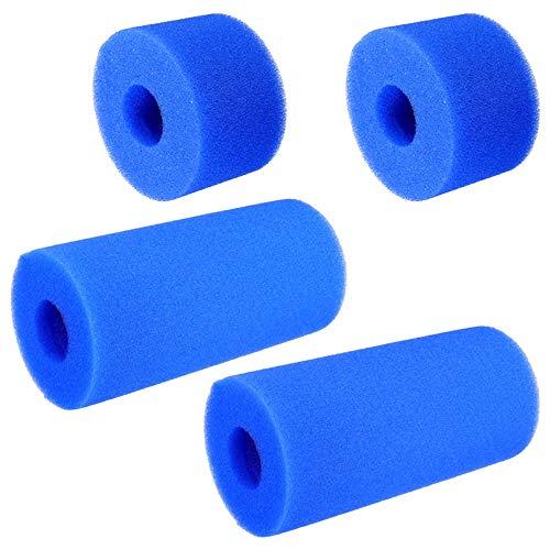 Gwolf Filterschwamm Pool, 4 Stück Schwimmbadfilter, Schwimmbad Filter Schwamm, Schaum Pool Filter, Patronenschwamm, Filterkartusche Schwamm für Schwimmbad Aquarium Whirlpool, Blau