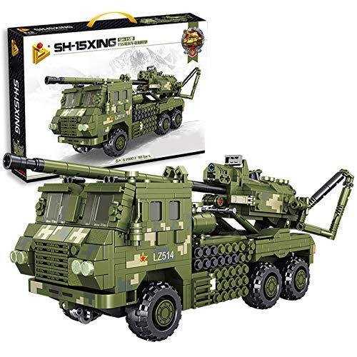 CYGG Bloques de construcción del Modelo de Tanque, 987pcs Howitzer Tank Tank WW2 Military Tank, Kits de construcción compatibles con la técnica Lego