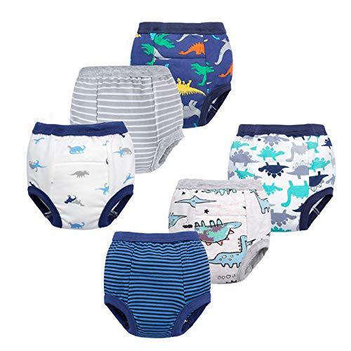BIG ELEPHANT Unisex-Baby Toddler Potty 6 Pack Cotton Pee Training Pants Underwear (Style B, 4T)