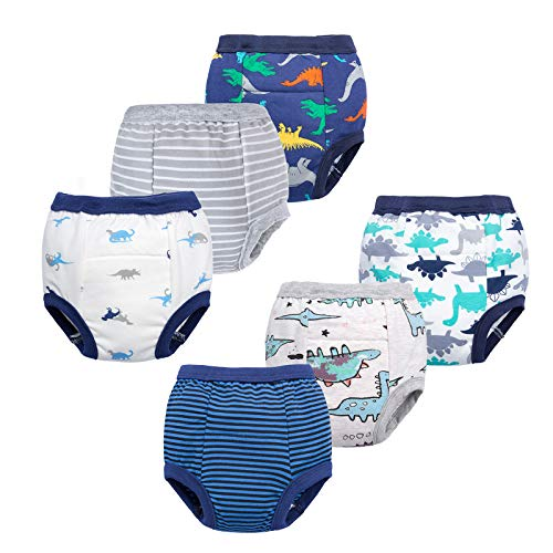 BIG ELEPHANT Unisex-Baby Toddler Potty 6 Pack Cotton Pee Training Pants Underwear