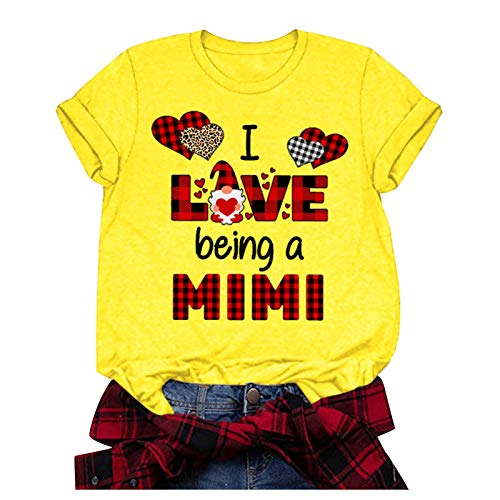 Blusa para Mujer, Talla Grande, Manga Corta, Estampado de Amor en 3D, Camisetas con Cuello en O, Camiseta, Blusa, Ropa para Mujer (L Amarillo)