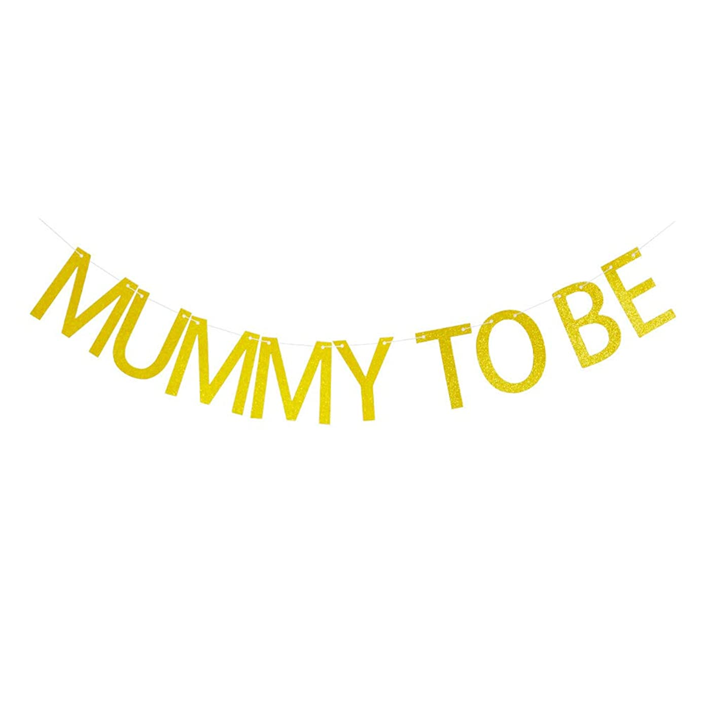 Mummy to Be Gold Glitter Banner for Baby Shower Party Decorations