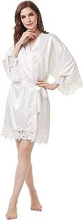 Women's Matte Satin Kimono Wedding Robe for Bride and Bridesmaid with Lace Trim