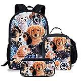 Mochila de viaje personalizada para niños con diseño de animal y perro, para adolescentes, 3 unidades