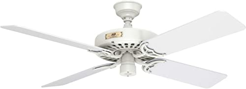 discount Hunter Fan Company 23845 Hunter 52 White Damp Rated high quality Pull Chain ceiling fan, 52 online sale inches online sale