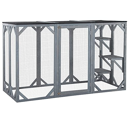 PawHut 71' x 32' x 44' Large Wooden Outdoor Cat Enclosure Catio Cage with 3 Platforms Grey