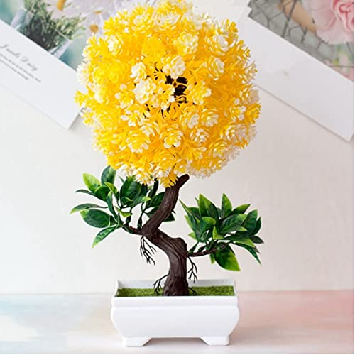 28 x 14 cm Plantas artificiales Bonsai Simulación Plástico S-Type Camellia Pequeño Árbol Maceta Plantas Adornos Para Casa Mesa Jardín Fiesta Decoración, Amarillo