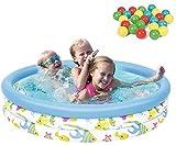 Piscina Redonda Inflable para bebés Juguetes para niños Piscina Infantil con Bola de océano y Bomba Inflable para jardín al Aire Libre Verano Diversión Familiar 102 x 25 cm Uptodate