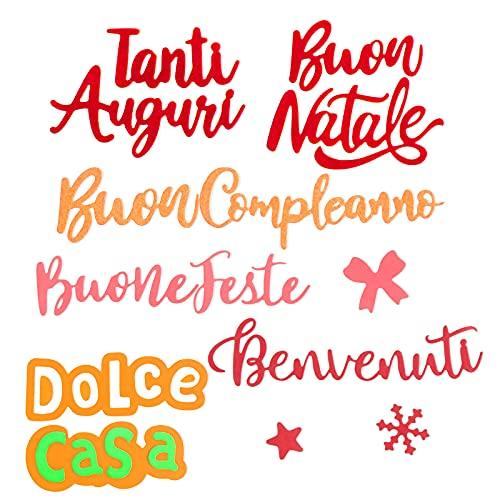 7 Set Fustelle Stencil Cutting Dies Lettere Natalizia Compelanno Auguri Fiocchi di Neve per Scrapbooking Decorazione di Festa Natale Benvenuti Compleanno Fai da Te Creazione Goffratura