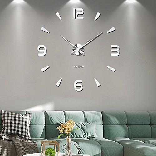 Frameless Large 3D DIY Wall Clock Mute Mirror Stickers Home Office School Decoration (Silver-73)