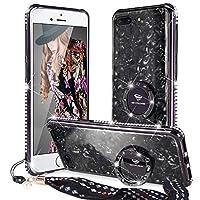 OCYCLONE iPhone7Plus/iPhone8Plus 適応 ラインストーンケース二代目 かわいい ガラスケース おしゃれ ストラップ キラキラ ダイアモンド スタンド 人気耐衝撃ケース 女子用 アイフォン7プラス/アイフォン8プラスケース 対応 (ブラック)