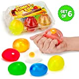 Colorful Eggs Splat and Stick Ball Squishy Toys - 6 Pack - Stress Relief Yolk Balls Squishies - Fun Toy for Easter - Anxiety Reducer Sensory Play - Stocking Stuffers for Kids - for Autism and ADHD