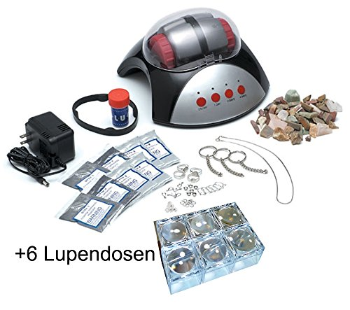 EDU Toys Elektrischer Steinschleifer zur Herstellung von Edelsteinen und 6 extra Mini Lupendosen