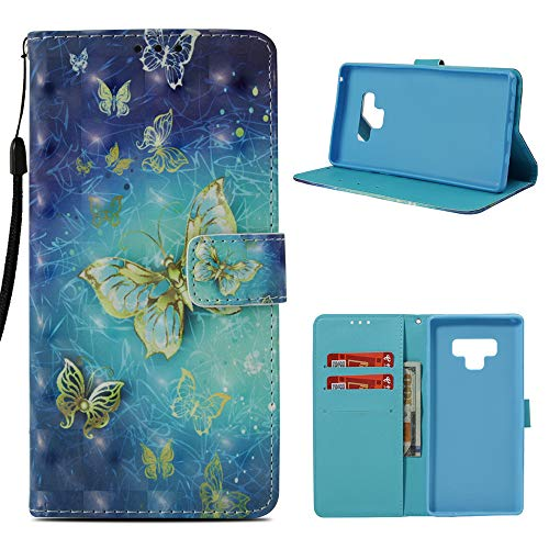 MOLLYCOOCLE Galaxy Note 9 Case, Butterfly Wallet Case PU Leather Magnetic Flip Folio Soft TPU Bumper Credit Card Holders Kickstand Protective Cover Case for Sumsung Galaxy Note 9