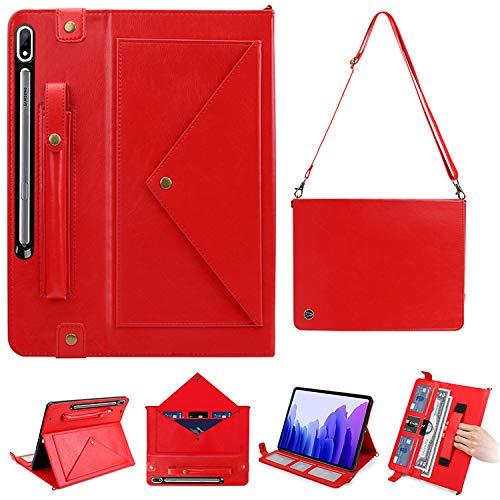 WHWOLF - Funda para Samsung Galaxy Tab S7 Plus/S7+ (SM-T970/SM-T976B) de 12,4 pulgadas, con asa de hombro portátil, piel sintética, multifunción, color rojo