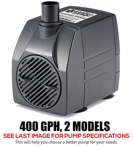 PonicsPumps Submersible Pump with for Hydroponics, Aquaponics, Fountains, Ponds, Statuary, Aquariums & more. Comes with 1 year limited warranty. (400 GPH : 6' Cord)
