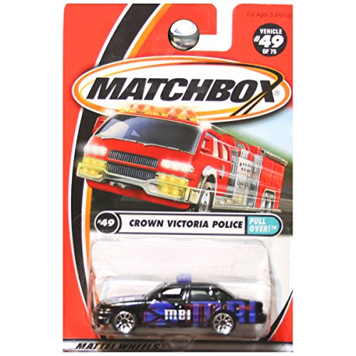 Matchbox Pull Over Crown Victoria Police Car Black #49