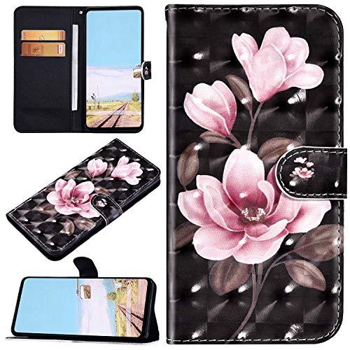 Urhause Kompatibel mit Galaxy S20 Brieftasche Hülle Ledertasche Handyhülle 3D Bunt Muster Glitzer Glänzend Schutzhülle mit Kartenfach Bumper Stoßfest Case Rosa Blume auf Schwarz
