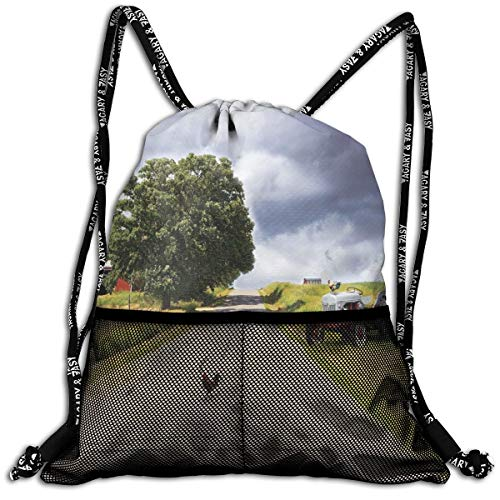 AZXGGV Drawstring Backpack Rucksack Shoulder Bags Gym Bag Sport Bag,Farmhouse On Country Road with Barn and Tractor On Side In Stormy Day Picture