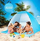 Large Beach Tent UV Pop Up Sun Shelter Tents, Big Portable Automatic Sun Umbrella, Waterproof/Windproof Instant Easy Outdoor Cabana, Fit 3-4 Persons for Camping, Hiking, Canopy with Carry Bag (Blue)