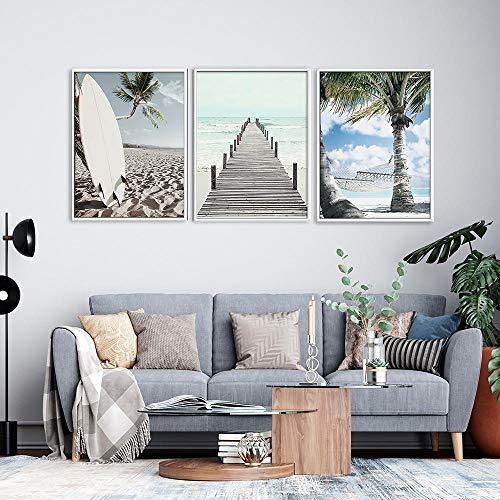 Palmera de coco tabla de surf paisaje pared arte lienzo pintura carteles nórdicos e impresiones cuadros de pared para sala de estar decoración del hogar 60x80cmx3 sin marco