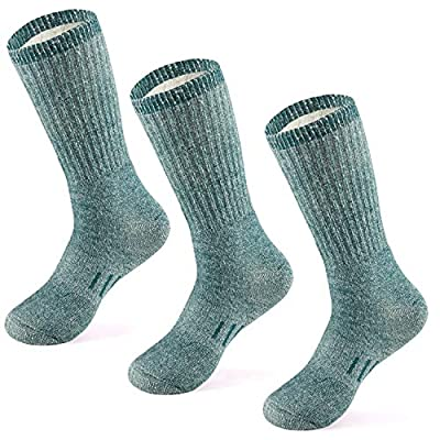 MERIWOOL Merino Wool Hiking Socks for Men and Women – 3 Pairs Midweight Cushioned – Warm n Breathable (X-Large, Green)