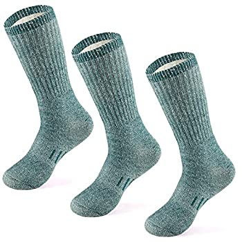 MERIWOOL Merino Wool Hiking Socks for Men and Women – 3 Pairs Midweight Cushioned – Warm n Breathable  Small - Medium Green