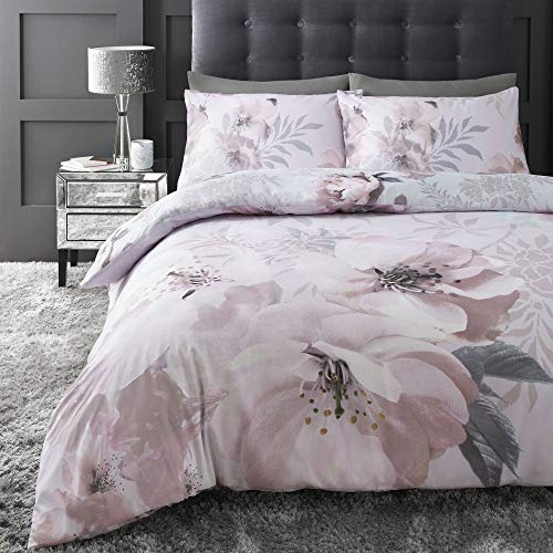 Catherine Lansfield Dramatic Floral Easy Care King Duvet Set Blush