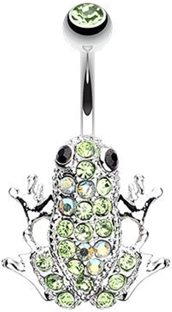 WildKlass Jewelry Amazon Frog Multi-Gem 316L Surgical Steel Belly Button Ring