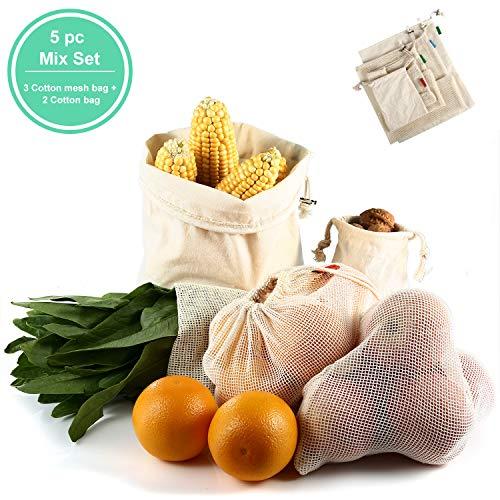 COMLIFE Einkaufsnetz 5er Set, Obst- und Gemüsebeutel aus Baumwolle Wiederverwendbar Plastikfrei Obstbeutel Brotbeutel Nussbeutel Baumwollbeutel für Lebensmittel einkaufen/Outdoor-Verpackung/Lager