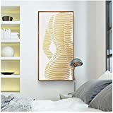 Imprimir en lienzo HD Impreso nórdico contratado Alivio Aureate Curva corporal Belleza Arte de la pared Lienzo Pintura Cartel e impresiones para Living Roon Decor 27.5 'x 55.1' (70x140cm) Sin marco