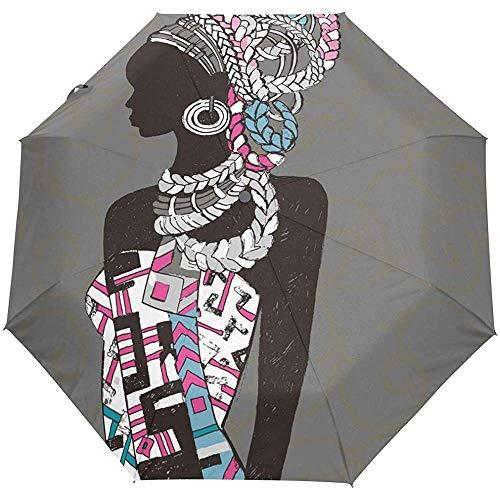 Jacque Dusk Regenschirm-Schöner Schwarzer Frauen-Schattenbild-Reise-Regenschirm-Offenes Winddichtes Wasserdichtes Regenschirm-Kompakt-Vordach