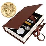 Mogoko Sigillo + 3*Ceralacca + Cera + Cera Stick Spoon Francobolli Vintage Kit per Lettera Personalizzata Timbri Personali IL MIGLIORE REGALO SET - Cuore