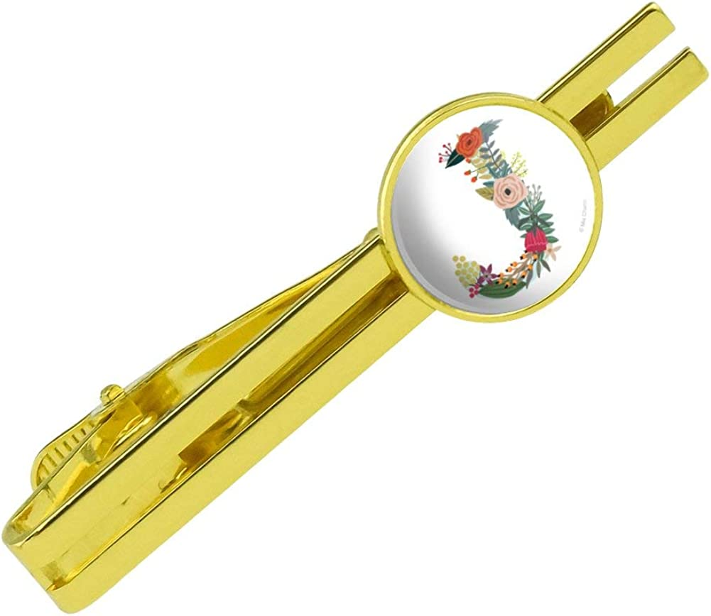 GRAPHICS & MORE Letter J Floral Monogram Initial Round Tie Bar Clip Clasp Tack Gold Color Plated