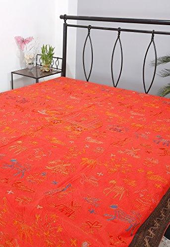 Rajrang Bestickte Tagesdecke Baumwolle Braun Elefant Doppelzimmer Bettlaken