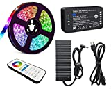 ZigBee RGBCCT LED Starter Kit, ZigBee 3.0 RGB and Dual White Strip Controller, DC 24V, 16.4Ft, 450 LED, IP65 Waterproof Strip Lights, 120W Power Supply, Remote Control and DIY Clip Connectors Hardware