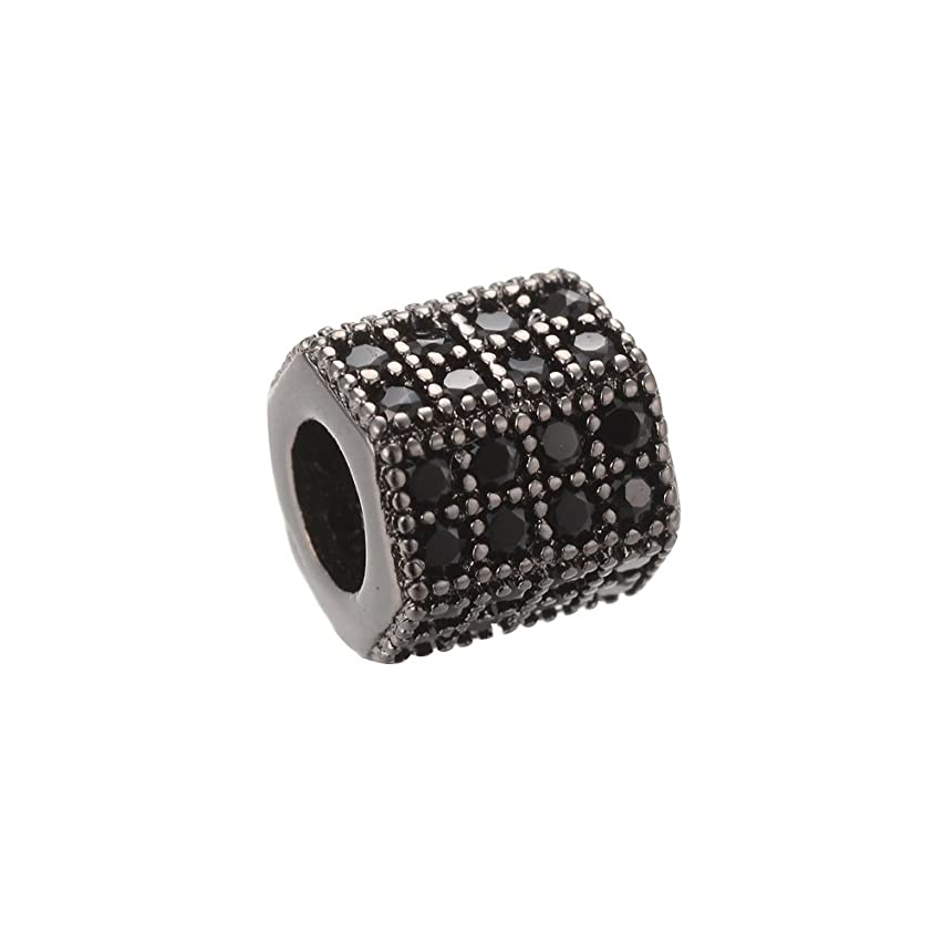 NBEADS 10PCS Brass Micro Pave Cubic Zirconia Beads Gunmetal Hexagon Tube Hollow Beads Spacer Beads for Jewelry Making, 7x8x7mm, Hole: 4mm