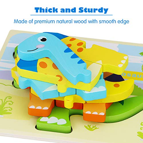 Aitbay Toddler Puzzles 6 Pack Dinosaur Wooden Puzzle for Toddler Kids 2 3 4 Year Old, Educational Toys for Preschool Kindergarten Boys and Girls