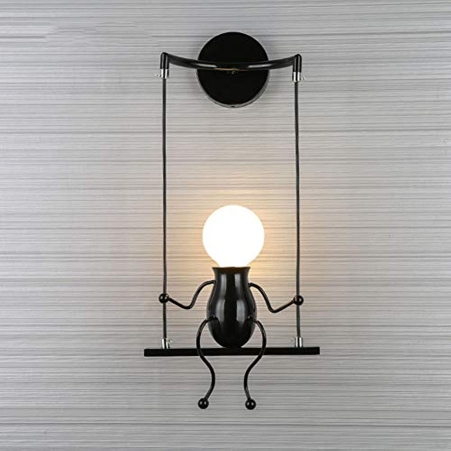 PoJu Wandleuchte Creative Wandleuchte Einfache Wohnzimmer Single Head und Doppelkopf Dekorative Leuchten Moderne Schlafzimmer Nachttischlampe Korridor Licht Gang Beleuchtung Treppe Schmiedeeisen Lampe