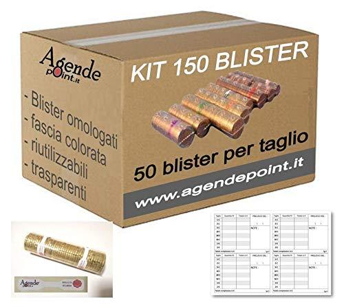 Blister contenitori per monete Euro KIT 150 MISTI : 1 € - 2 € E 50 Cent (50 pezzi per taglio) OMAGGIO mastrino e sigilli
