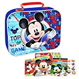 Mickey Mouse Lunch Box Travel Activity Set ~ Insulated Mickey Mouse Lunch Bag with Mickey Mouse Coloring Pack, Games, Stickers, and More for Boys Girls Kids (Mickey Mouse School Supplies Bundle)