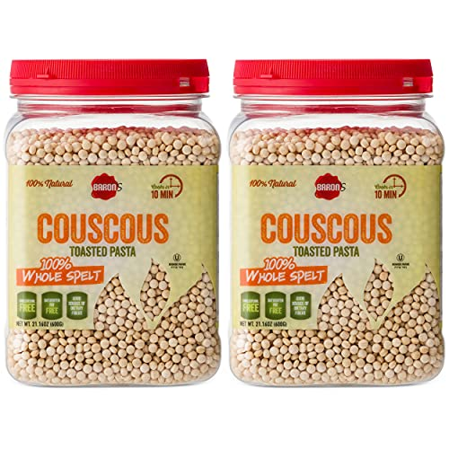 Baron's Couscous Whole Spelt Toasted Pasta | 100% Natural Pearled Noodles for Salads, Soups & Side Dishes | Cooks in 10 Minutes! | Kosher Parve | Cholesterol & Saturated Fat Free | 2 Pack 21.16oz Jars